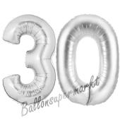 Zahl 30, Silber, Luftballons aus Folie zum 30. Geburtstag, 100 cm, inklusive Helium