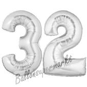 Zahl 32, Silber, Luftballons aus Folie zum 32. Geburtstag, 100 cm, inklusive Helium