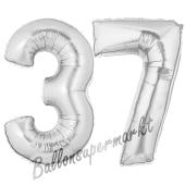 Zahl 37, Silber, Luftballons aus Folie zum 37. Geburtstag, 100 cm, inklusive Helium