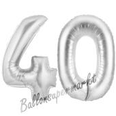 Zahl 40, Silber, Luftballons aus Folie zum 40. Geburtstag