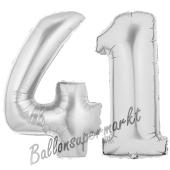 Zahl 41, Silber, Luftballons aus Folie zum 41. Geburtstag, 100 cm, inklusive Helium