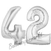 Zahl 42, Silber, Luftballons aus Folie zum 42. Geburtstag, 100 cm, inklusive Helium