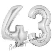 Zahl 43, Silber, Luftballons aus Folie zum 43. Geburtstag, 100 cm, inklusive Helium