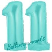 Zahl 11 Türkis, Luftballons aus Folie zum 11. Geburtstag, 100 cm, inklusive Helium