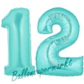 Zahl 12 Türkis, Luftballons aus Folie zum 12. Geburtstag, 100 cm, inklusive Helium