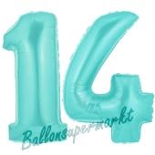Zahl 14 Türkis, Luftballons aus Folie zum 14. Geburtstag, 100 cm, inklusive Helium