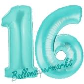 Zahl 16, Türkis, Luftballons aus Folie zum 16. Geburtstag, 100 cm, inklusive Helium