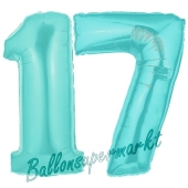 Zahl 17 Türkis, Luftballons aus Folie zum 17. Geburtstag, 100 cm, inklusive Helium