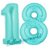 Zahl 18, Türkis, Luftballons aus Folie zum 18. Geburtstag, 100 cm, inklusive Helium