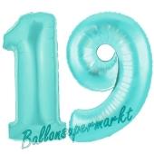 Zahl 19 Türkis, Luftballons aus Folie zum 19. Geburtstag, 100 cm, inklusive Helium