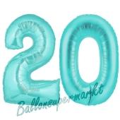 Zahl 20 Türkis, Luftballons aus Folie zum 20. Geburtstag, 100 cm, inklusive Helium