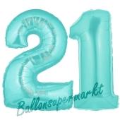 Zahl 21 Türkis, Luftballons aus Folie zum 21. Geburtstag, 100 cm, inklusive Helium