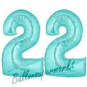 Zahl 22 Türkis, Luftballons aus Folie zum 22. Geburtstag, 100 cm, inklusive Helium