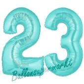 Zahl 23 Türkis, Luftballons aus Folie zum 23. Geburtstag, 100 cm, inklusive Helium