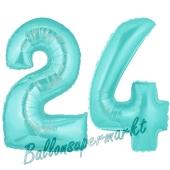 Zahl 24 Türkis, Luftballons aus Folie zum 24. Geburtstag, 100 cm, inklusive Helium