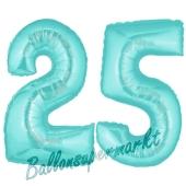 Zahl 25 Türkis, Luftballons aus Folie zum 25. Geburtstag, 100 cm, inklusive Helium