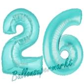 Zahl 26 Türkis, Luftballons aus Folie zum 26. Geburtstag, 100 cm, inklusive Helium