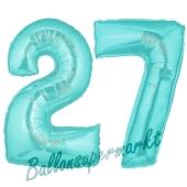 Zahl 27 Türkis, Luftballons aus Folie zum 27. Geburtstag, 100 cm, inklusive Helium