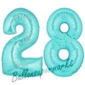 Zahl 28 Türkis, Luftballons aus Folie zum 28. Geburtstag, 100 cm, inklusive Helium