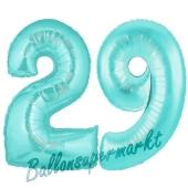 Zahl 29 Türkis, Luftballons aus Folie zum 29. Geburtstag, 100 cm, inklusive Helium