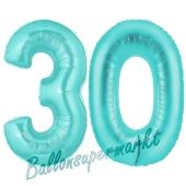 Zahl 30, Türkis, Luftballons aus Folie zum 30. Geburtstag, 100 cm, inklusive Helium