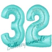 Zahl 32 Türkis, Luftballons aus Folie zum 32. Geburtstag, 100 cm, inklusive Helium