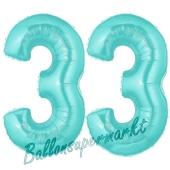 Zahl 33 Türkis, Luftballons aus Folie zum 33. Geburtstag, 100 cm, inklusive Helium