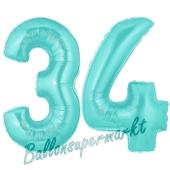 Zahl 34 Türkis, Luftballons aus Folie zum 34. Geburtstag, 100 cm, inklusive Helium