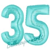 Zahl 35 Türkis, Luftballons aus Folie zum 35. Geburtstag, 100 cm, inklusive Helium