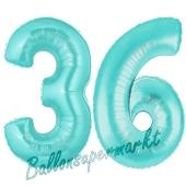 Zahl 36 Türkis, Luftballons aus Folie zum 36. Geburtstag, 100 cm, inklusive Helium