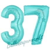 Zahl 37 Türkis, Luftballons aus Folie zum 37. Geburtstag, 100 cm, inklusive Helium