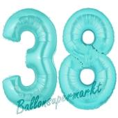 Zahl 38 Türkis, Luftballons aus Folie zum 38. Geburtstag, 100 cm, inklusive Helium