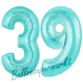Zahl 39 Türkis, Luftballons aus Folie zum 39. Geburtstag, 100 cm, inklusive Helium