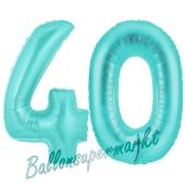 Zahl 40, Türkis, Luftballons aus Folie zum 40. Geburtstag
