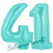 Zahl 41 Türkis, Luftballons aus Folie zum 41. Geburtstag, 100 cm, inklusive Helium