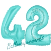 Zahl 42 Türkis, Luftballons aus Folie zum 42. Geburtstag, 100 cm, inklusive Helium