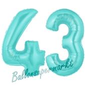 Zahl 43 Türkis, Luftballons aus Folie zum 43. Geburtstag, 100 cm, inklusive Helium