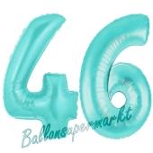 Zahl 46 Türkis, Luftballons aus Folie zum 46. Geburtstag, 100 cm, inklusive Helium