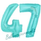 Zahl 47 Türkis, Luftballons aus Folie zum 47. Geburtstag, 100 cm, inklusive Helium