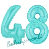 Zahl 48 Türkis, Luftballons aus Folie zum 48. Geburtstag, 100 cm, inklusive Helium