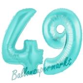Zahl 49 Türkis, Luftballons aus Folie zum 49. Geburtstag, 100 cm, inklusive Helium