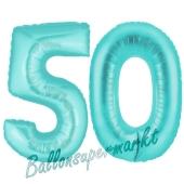 Zahl 50, Türkis, Luftballons aus Folie zum 50. Geburtstag