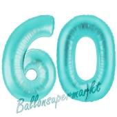 Zahl 60, Türkis, Luftballons aus Folie zum 60. Geburtstag