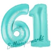 Zahl 61 Türkis, Luftballons aus Folie zum 61. Geburtstag, 100 cm, inklusive Helium