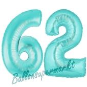 Zahl 62 Türkis, Luftballons aus Folie zum 62. Geburtstag, 100 cm, inklusive Helium