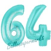 Zahl 64 Türkis, Luftballons aus Folie zum 64. Geburtstag, 100 cm, inklusive Helium