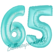 Zahl 65 Türkis, Luftballons aus Folie zum 65. Geburtstag, 100 cm, inklusive Helium