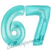 Zahl 67 Türkis, Luftballons aus Folie zum 67. Geburtstag, 100 cm, inklusive Helium