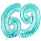 Zahl 69 Türkis, Luftballons aus Folie zum 69. Geburtstag, 100 cm, inklusive Helium