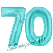 Zahl 70, Türkis, Luftballons aus Folie zum 70. Geburtstag